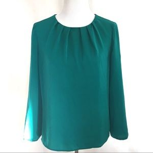 J. Crew Emerald Green Scoop Neck LongSleeve Blouse